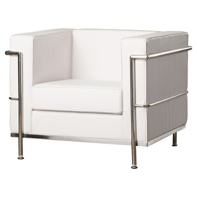 Kael Contemporary Mid-Back Lounge Chair with Encasing Frame Guest Chair Seat Color: White