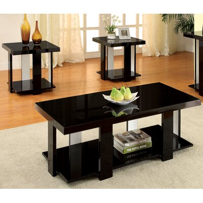 Dunlevy 3 Piece Coffee Table Set Finish: Black