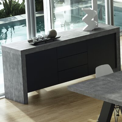 Cosette 2 Door Sideboard Color: Concrete / Pure Black