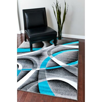 Maddox Turquoise/Gray Indoor/Outdoor Area Rug Rug Size: 5 x 7