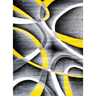 Maddox Yellow/Gray Indoor/Outdoor Area Rug Rug Size: 2' x 3'