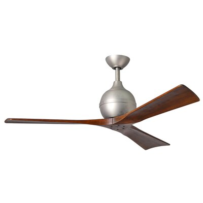 52 Rosalind 3 Blade Ceiling Fan with Wall Remote Finish: Polished Chrome with Barn Wood Tone Blades