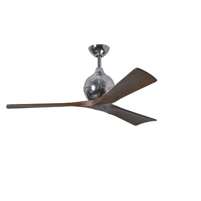 52 Rosalind 3 Blade Ceiling Fan with Wall Remote Finish: Polished Chrome
