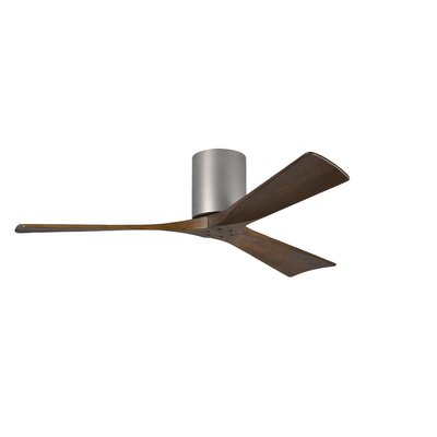 52 Rosalind 3 Blade Hugger Ceiling Fan with Remote Finish: Brushed Nickel