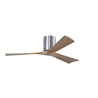 52 Rosalind 3 Blade Hugger Ceiling Fan with Remote Finish: Polished Chrome
