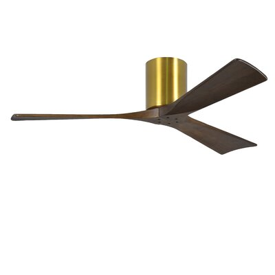 52 Rosalind 3 Blade Hugger Ceiling Fan with Remote Finish: Polished Chrome Finish with Barn Wood Tone Blades