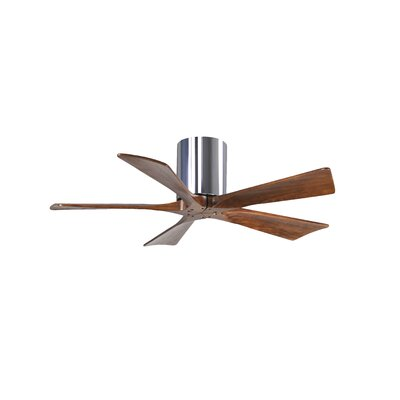 42 Rosalind 5 Blade Hugger Ceiling Fan with Hand Held and Wall Remote Motor Finish: Polished Chrome