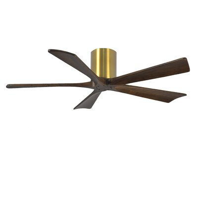 52 Rosalind 5 Blade Hugger Ceiling Fan with Hand Held and Wall Remote Finish: Brushed Nickel Finish with Barn Wood Tone Blades