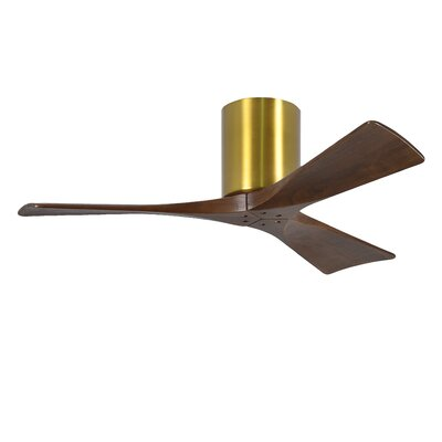 42 Rosalind 3 Blade Hugger Ceiling Fan with Hand Held and Wall Remote Finish: Brushed Brass Finish with Barn Wood Tone Blades