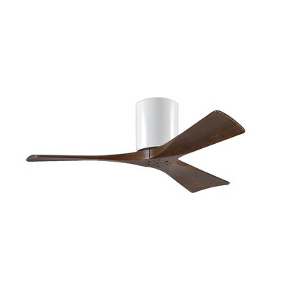 42 Rosalind 3 Blade Hugger Ceiling Fan Finish: Matte Black Finish with Barn Wood Tone Blades