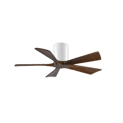 42 Rosalind 5 Blade Hugger Ceiling Fan Finish: Gloss White Finish with Barn Wood Tone Blades