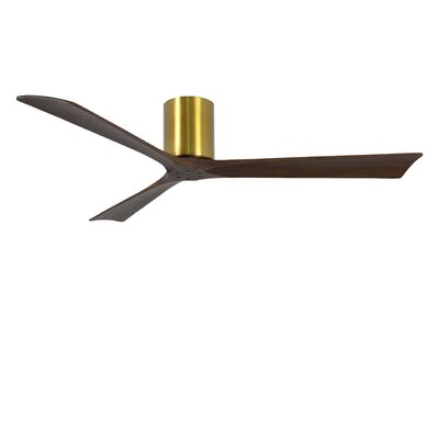 60 Rosalind 3 Blade Hugger Ceiling Fan with Wall Remote Finish: Brushed Brass Finish with Barn Wood Tone Blades