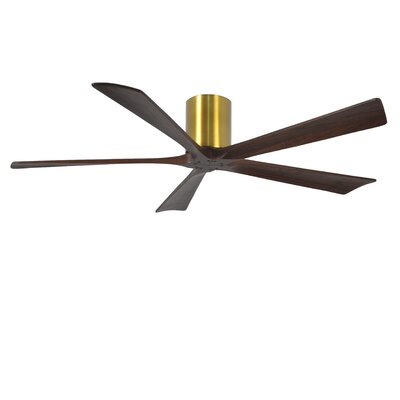 60 Rosalind 5 Blade Hugger Ceiling Fan with Wall Remote Finish: Brushed Brass Finish with Barn Wood Tone Blades