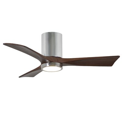42 Rosalind 3 Blade Hugger Ceiling Fan with Wall Remote and Light Kit Finish: Polished Chrome