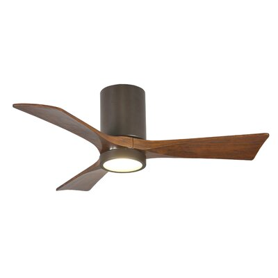 42 Rosalind 3 Blade Hugger Ceiling Fan with Wall Remote and Light Kit Finish: Textured Bronze