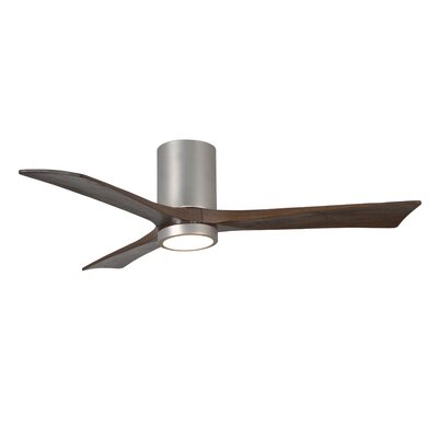 52 Rosalind 3 Blade Hugger Ceiling Fan with Wall Remote and Light Kit Motor Finish: Brushed Nickel