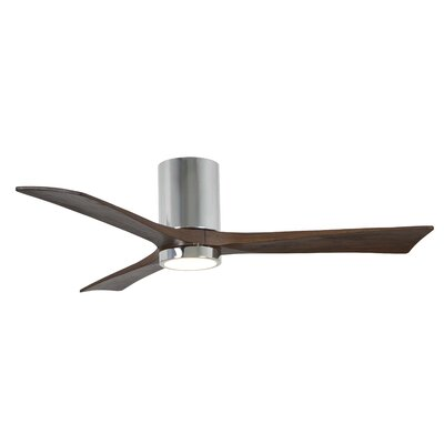 52 Rosalind 3 Blade Hugger Ceiling Fan with Wall Remote and Light Kit Finish: Polished Chrome
