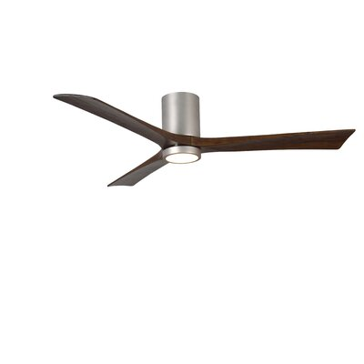 60 Rosalind 3 Blade Hugger Ceiling Fan with Wall Remote and Light Kit Finish: Gloss White with Barn Wood Tone Blades