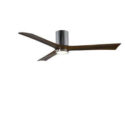 60 Rosalind 3 Blade Hugger Ceiling Fan with Wall Remote and Light Kit Motor Finish: Polished Chrome