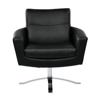 Leontine Leather Arm Chair Upholstery: Black