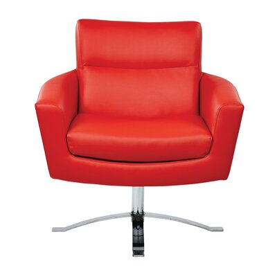 Leontine Leather Arm Chair Color: Red