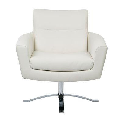 Leontine Leather Arm Chair Color: White