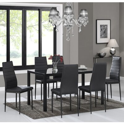 Raoul 7 Piece Dining Set Color: Black