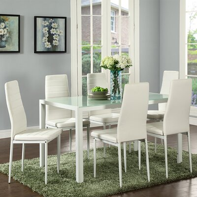 Raoul 7 Piece Dining Set Color: White