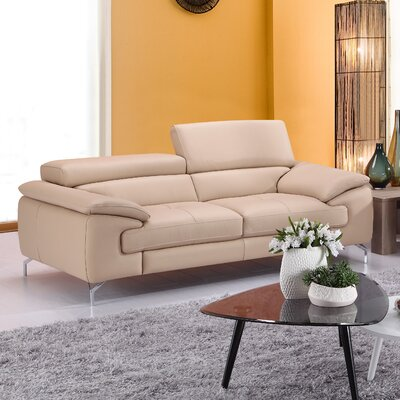 Gideon Italian Leather Sofa Upholstery: Peanut