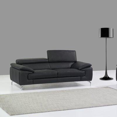 Gideon Italian Leather Sofa Upholstery: Black