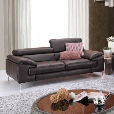 Gideon Italian Leather Sofa Upholstery: Coffee