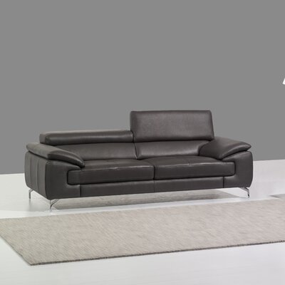 Gideon Italian Leather Sofa Upholstery: Grey