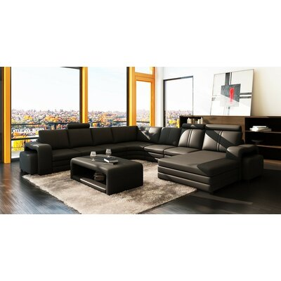 Russet Leather Sectional