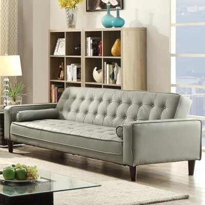Laurence Faux Leather Sleeper Sofa Upholstery: Gray