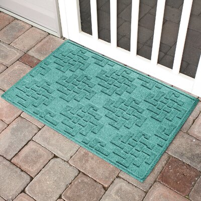 Mendez Rectangle Doormat Color: Aquamarine