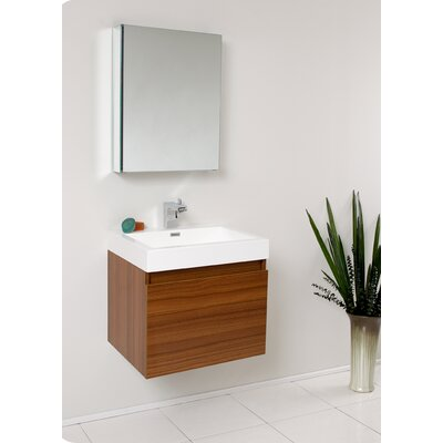 Senza 24 Single Nano Modern Bathroom Vanity Set with Mirror Base Finish: Teak