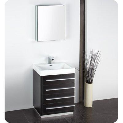 Senza 24 Single Bathroom Vanity Set with Mirror Base Finish: Black
