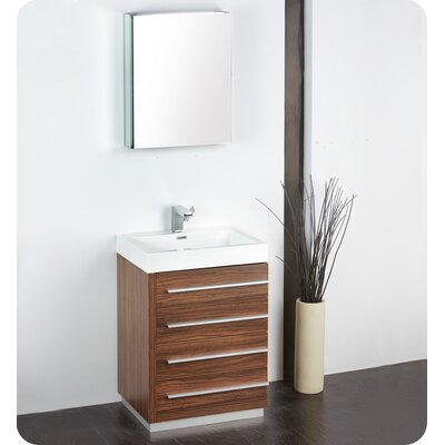 Senza 24 Single Bathroom Vanity Set with Mirror Base Finish: Walnut