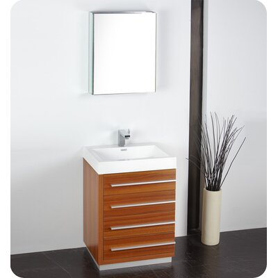 Senza 24 Single Bathroom Vanity Set with Mirror Base Finish: Teak