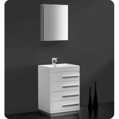 Senza 24 Single Bathroom Vanity Set with Mirror Base Finish: Glossy White