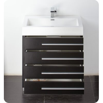 Senza 30 Single Livello Modern Bathroom Vanity Set Base Finish: Black