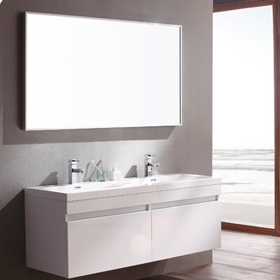 Senza 57 Double Bathroom Vanity Set with Mirror Base Finish: White