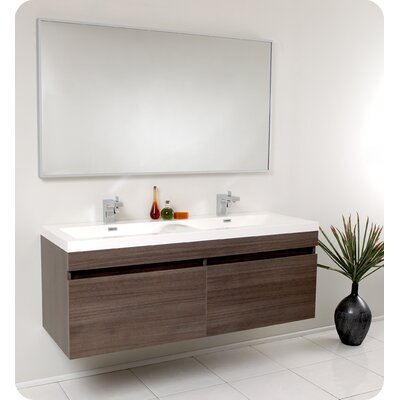 Senza 57 Double Bathroom Vanity Set with Mirror Base Finish: Gray Oak
