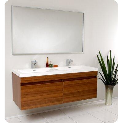 Senza 57 Double Bathroom Vanity Set with Mirror Base Finish: Teak