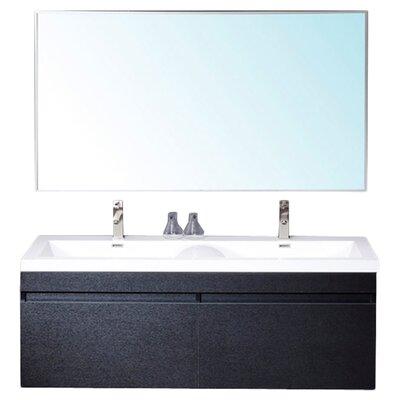 Senza 57 Double Bathroom Vanity Set with Mirror Base Finish: Black