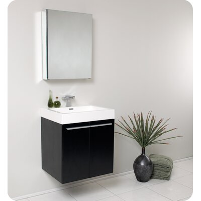 Senza 23 Single �Alto Modern Bathroom Vanity Set with Mirror Base Finish: Black