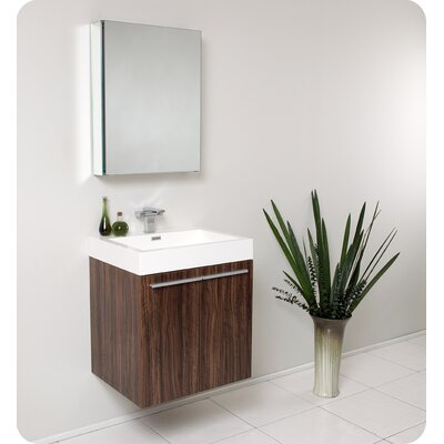 Senza 23 Single �Alto Modern Bathroom Vanity Set with Mirror Base Finish: Walnut
