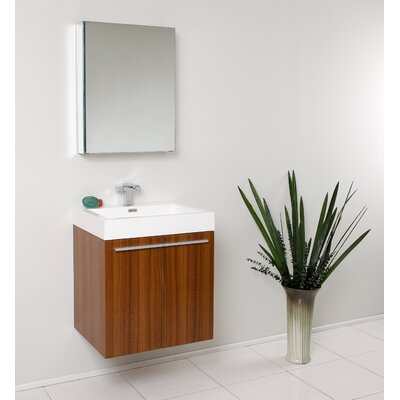 Senza 23 Single �Alto Modern Bathroom Vanity Set with Mirror Base Finish: Teak