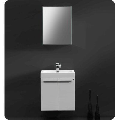 Senza 23 Single �Alto Modern Bathroom Vanity Set with Mirror Base Finish: White