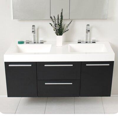 Senza Opulento 54 Double Bathroom Vanity Set with Mirror Base Finish: Black